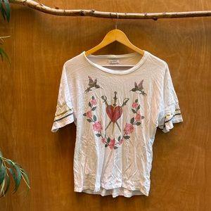 Lauren moshi heart bird wreath shirt